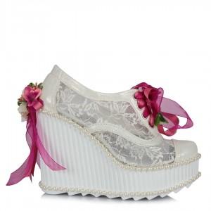 Gelin Ayakkabısı Fuşya Çiçekler Dolgu Topuk