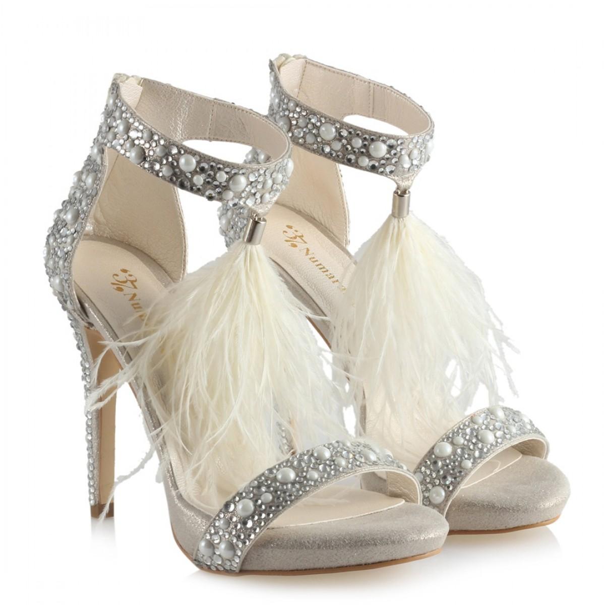 Gelin Ayakkabısı İncili Taşlı Tasarım Tavşan Tüylü