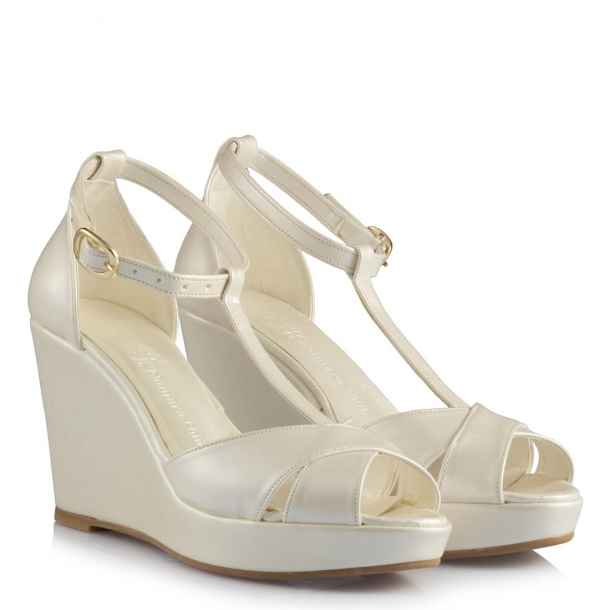 Gelin Ayakkabısı Kırık Beyaz Az Topuk