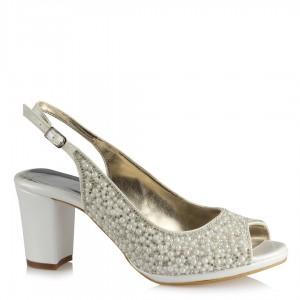 Gelin Ayakkabısı Kırık Beyaz Az Topuklu İnci Taşlı