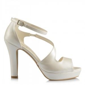 Gelin Ayakkabısı Kırık Beyaz Bilekten Kemerli