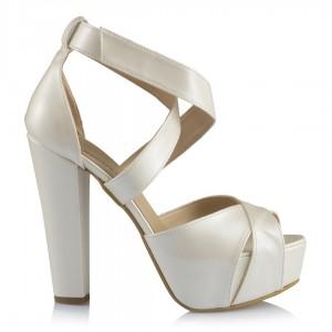 Gelin Ayakkabısı Kırık Beyaz Çapraz Bantlı