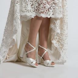 Gelin Ayakkabısı Kırık Beyaz Çapraz Model