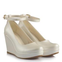 Gelin Ayakkabısı Kırık Beyaz Kemerli Dolgu Topuk