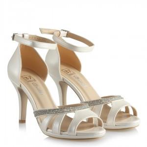 Gelin Ayakkabısı Kırık Beyaz Klasik Taşlı