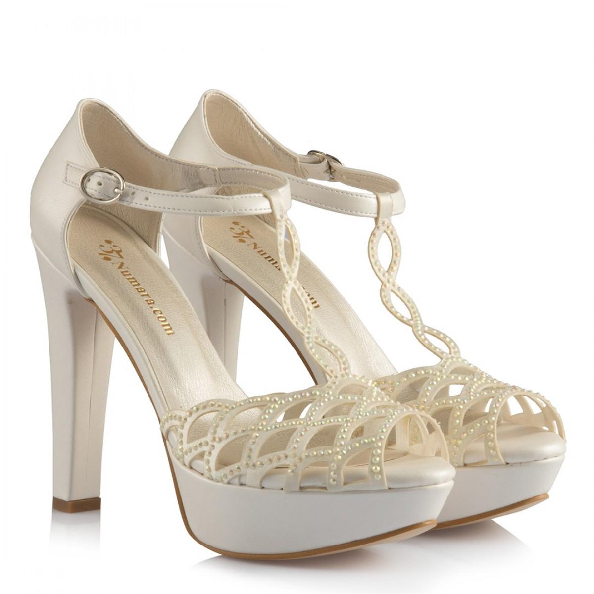 Gelin Ayakkabısı Kırık Beyaz Taşlı Kafes