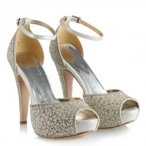 Gelin Ayakkabısı Platform İnci Taş Kemerli