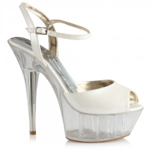 Gelin Ayakkabısı Şeffaf Platform Topuklu