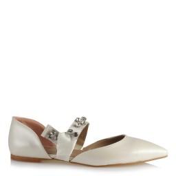Gelin Babeti Ayakkabı İnci Beyazı Taşlı Bağcıklı