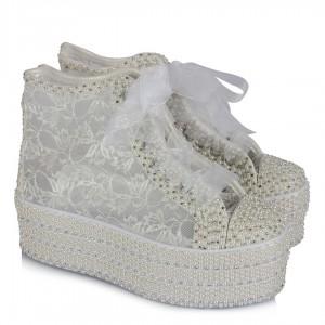 Gelinlik Ayakkabısı İnci Taş Aşkına