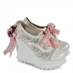 Gelinlik Ayakkabısı Pudra Çiçekler Dolgu Topuk