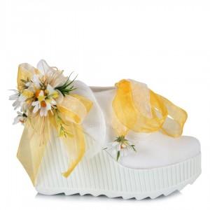 Gelinlik Ayakkabısı Sarı Papatya Dolgu Topuk