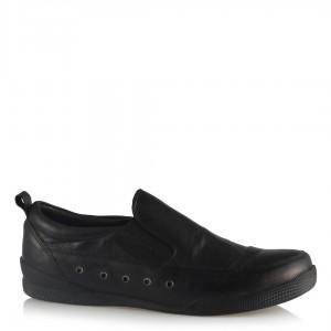 Hakiki Deri Ayakkabı Siyah Comfort Streç Bantlı