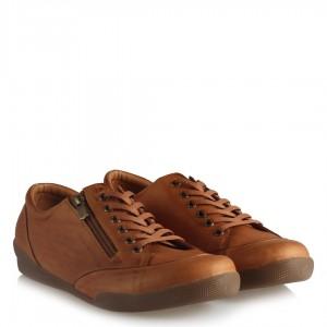 Hakiki Deri Ayakkabı Taba Comfort Fermuar Aksesuarlı