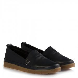 Hakiki Deri Lacivert Düz Taban Ayakkabı