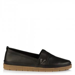 Hakiki Deri Siyah Düz Taban Ayakkabı