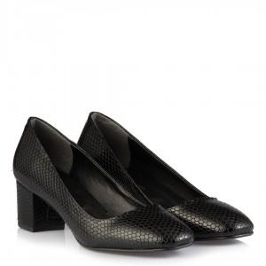 Kalın Topuk Ayakkabı Siyah Damla Deri