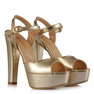 Kalın Topuklu Açık Ayakkabı Mat Dore
