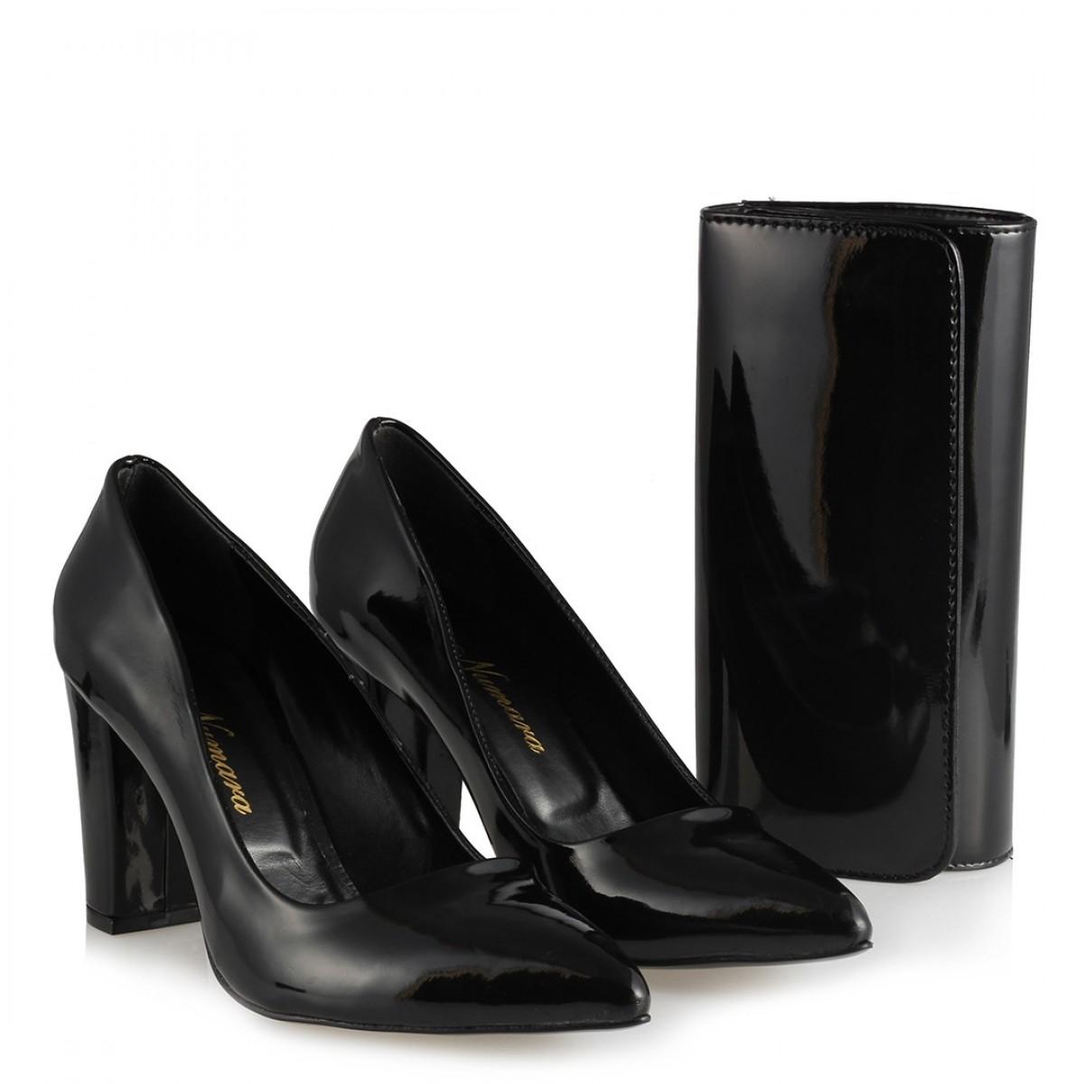 9d2fc2c3cdc75 Kalın Topuklu Stiletto Ayakkabı Portföy Çanta Kombin