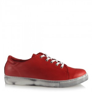 Kırmızı Hakiki Deri Ayakkabı Bağcıklı Comfort