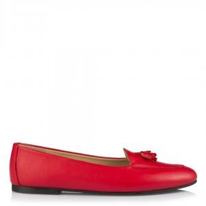 Kırmızı Hakiki Deri Püskül Babet Ayakkabı