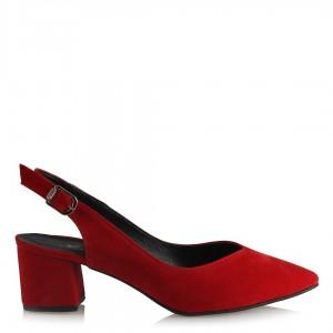 Kırmızı Stiletto Arkası Açık Kalın Topuklu