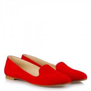Kırmızı Süet Bayan Babet