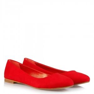 Kırmızı Süet Günlük Bayan Babet
