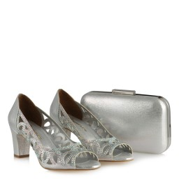 Lame Ayakkabı Taşlı Şık Kafes Model Çanta Kombin