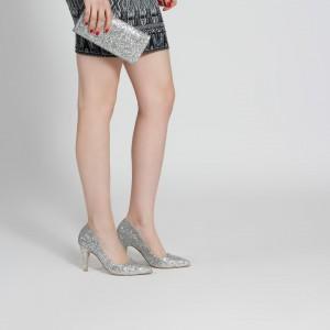 Lame Cam Kırığı Stiletto Çanta Takım