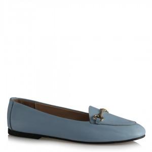 Loafer Ayakkabı Mavi Hakiki Deri Tokalı