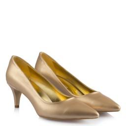 Матовые Золотисто-блестящие Туфли На Низком Каблуке