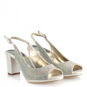 Nikah Ayakkabısı Az Topuk Taşlı Arka Açık