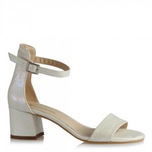 Nikah Ayakkabısı Az Topuk Tek Bantlı Sedef Yaldızlı