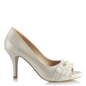 Nikah Ayakkabısı Az Topuklu Fiyonklu Tül