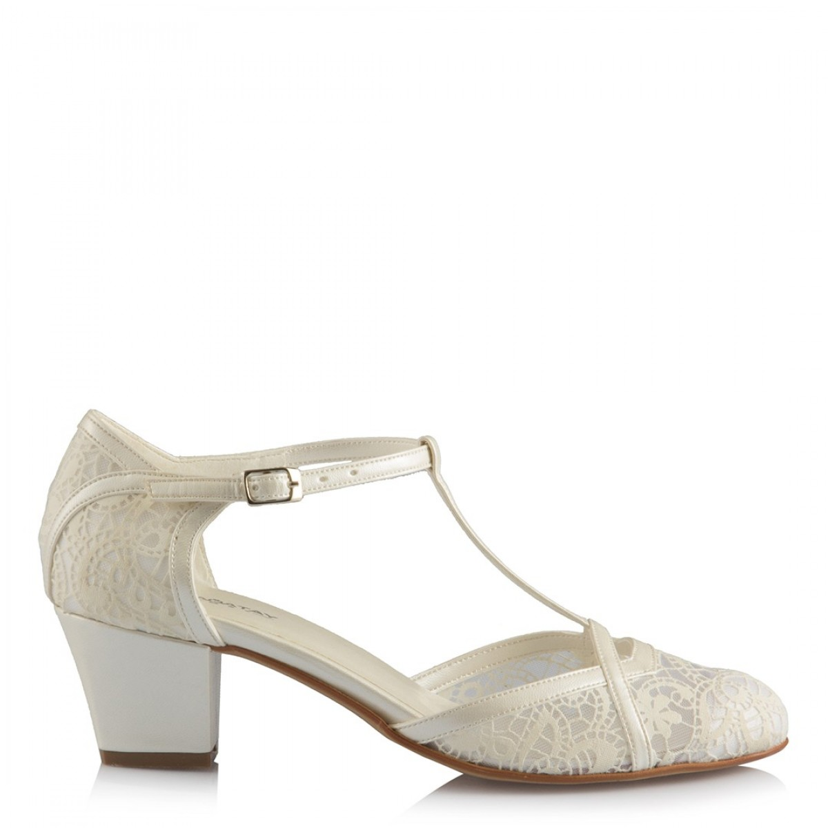 Nikah Ayakkabısı Az Topuklu İnci Dantel