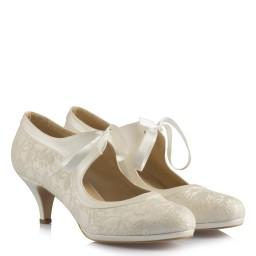 Nikah Ayakkabısı Az Topuklu Kurdele Model
