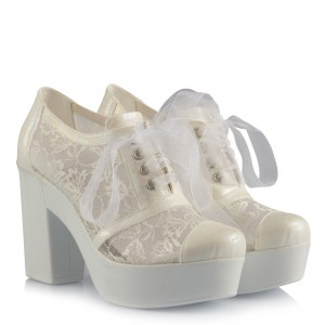 Nikah Ayakkabısı Bağcıklı Dantelli Rahat Taban