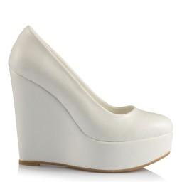 Nikah Ayakkabısı Beyaz 19 Pont Dolgu Topuk