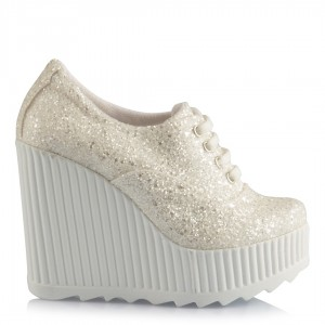Nikah Ayakkabısı Beyaz Cam Kırığı Spor Dolgu Topuk