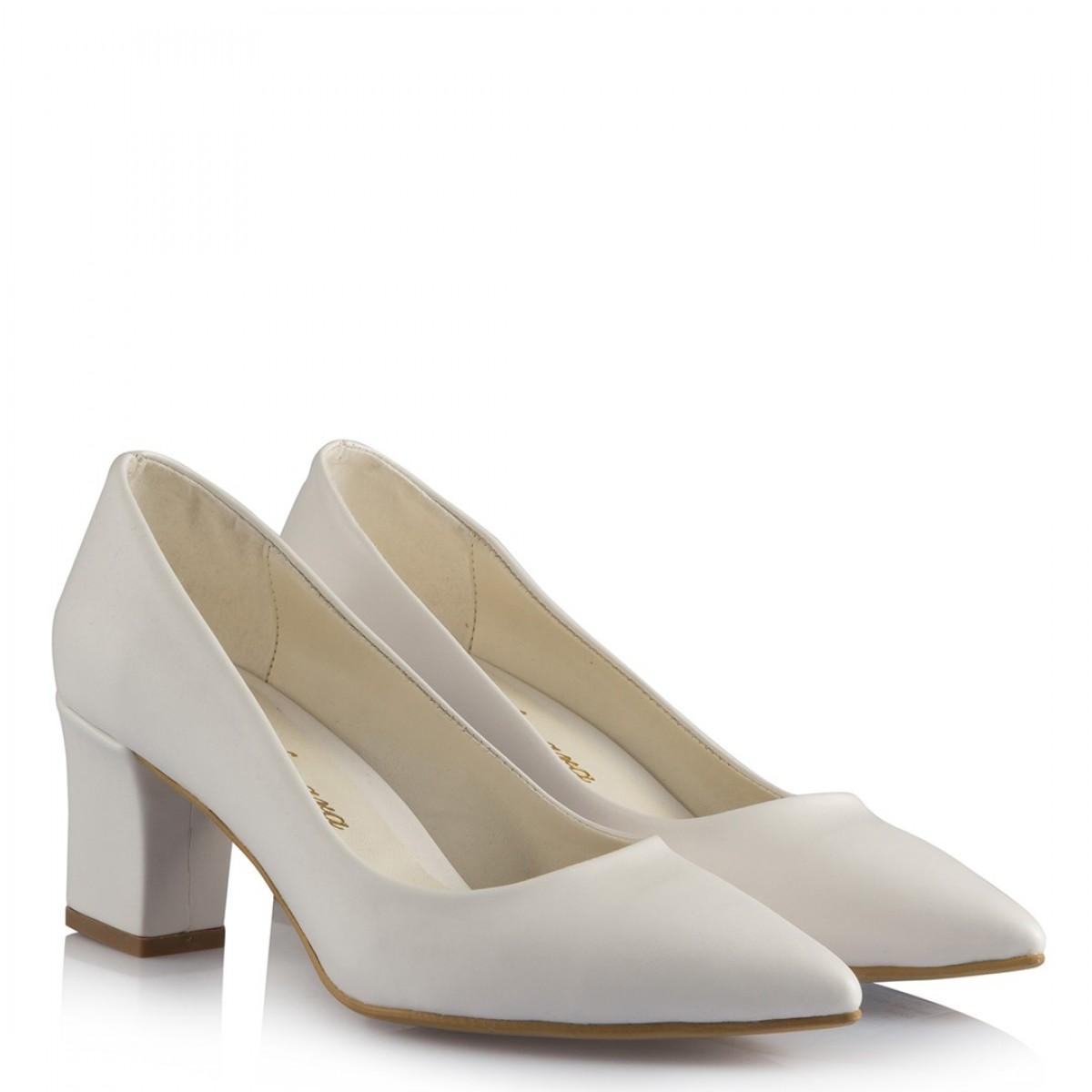Nikah Ayakkabısı Kalın Topuklu Beyaz Deri