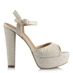 Nikah Ayakkabısı Kalın Topuklu Kırık Beyaz