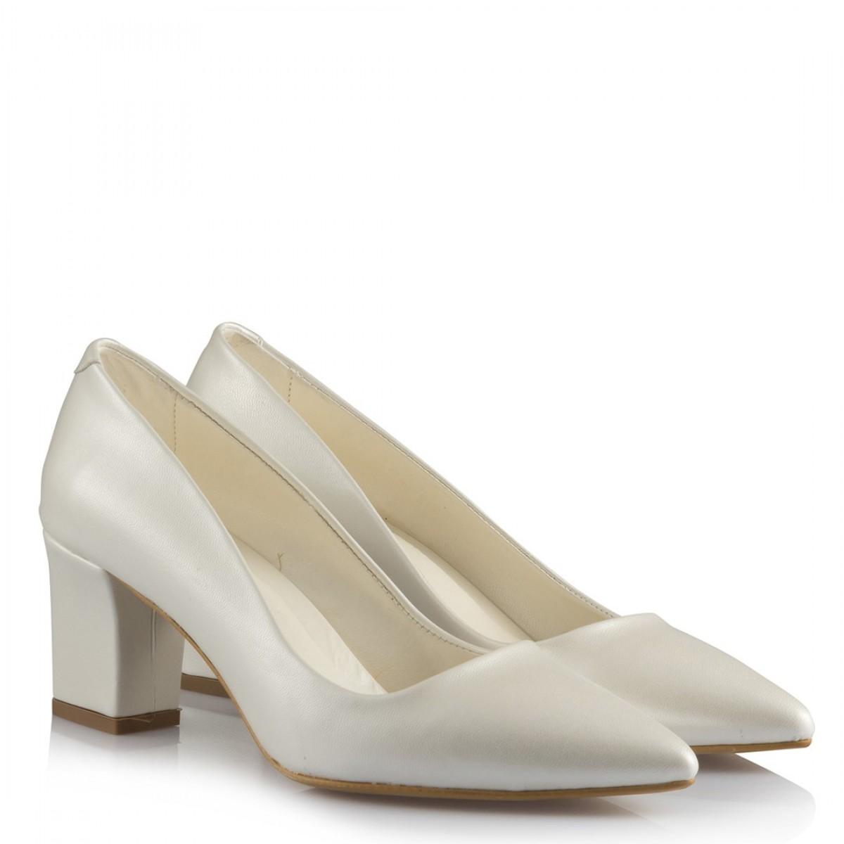 Nikah Ayakkabısı Kalın Topuklu Kırık Beyaz  Deri
