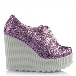 Nikah Ayakkabısı Lila Cam Kırığı Spor Dolgu Topuk