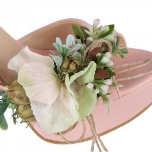 Nikah Ayakkabısı Pudra Çiçekler Tasarım