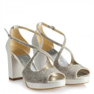 Nikah Ayakkabısı Taşlı Topuklu Kemerli