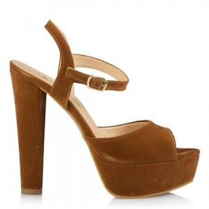 Platform Ayakkabı Taba Süet Modeli