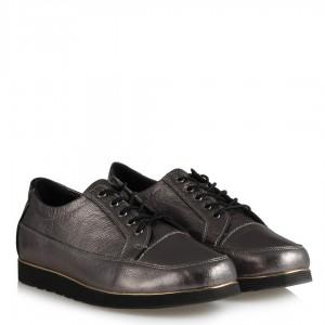 Platin Bağcıklı Hakiki Deri Ayakkabı