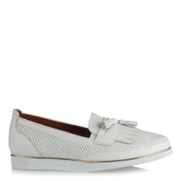 Püsküllü Ayakkabı Beyaz Hakiki Deri
