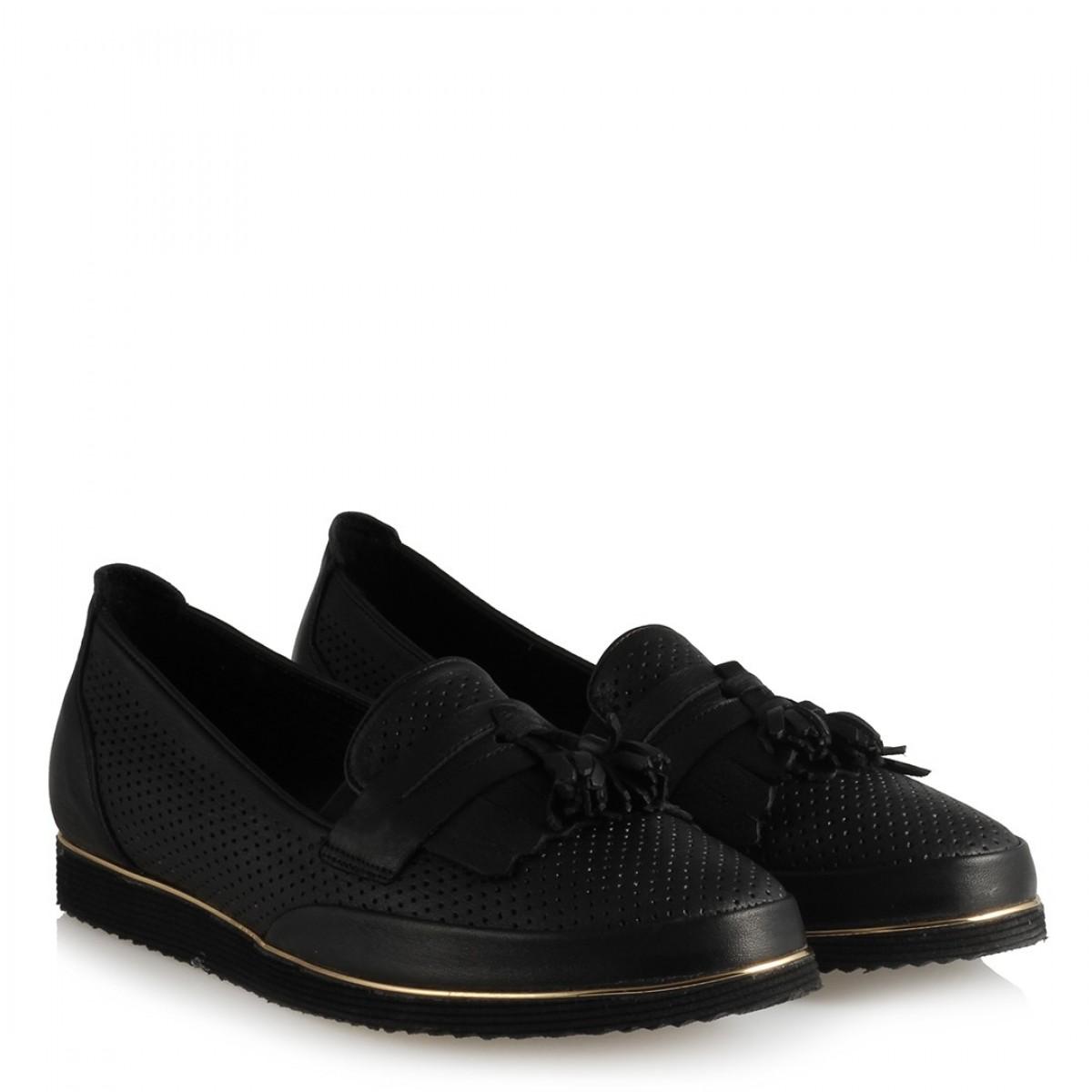 Püsküllü Ayakkabı Siyah Hakiki Deri